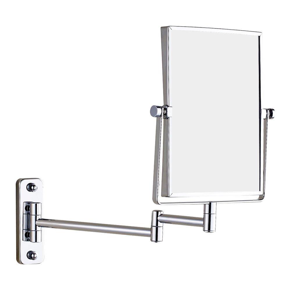 GURUN Wall Mount Rectangular Makeup Mirror, 3X Magnification, Chrome(1401,3X)
