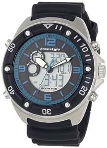 Freestyle Precision 2.0 - Reloj analógico - digital de caballero de cuarzo con correa de goma negra (alarma, cuenta vueltas, luz, cronómetro)