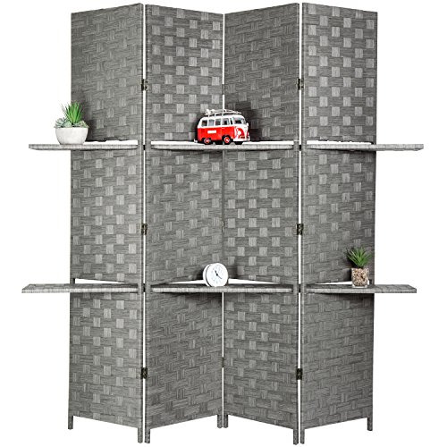 - MyGift Decorative Hand Woven Bamboo 4-Panel Room Divider with 2 Tier Display Shelves & 2-Way Hinges, Gray
