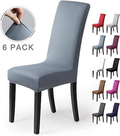 Coprisedie con schienale 6pezzi Elasticizzato Copertura della sedia bi elastico per una misura universale, Coppia spandex Coprisedia molto facile da