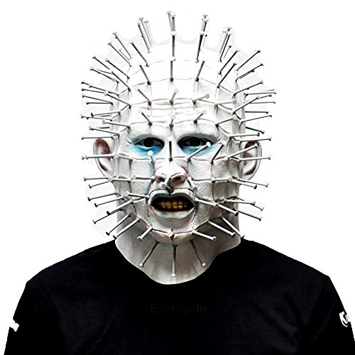 Pinhead Halloween Mask (Scary Horror Pinhead Masks Hell Raise Full Face Mask Movie Cosplay Costume Latex Rubber Party Props Carnival)