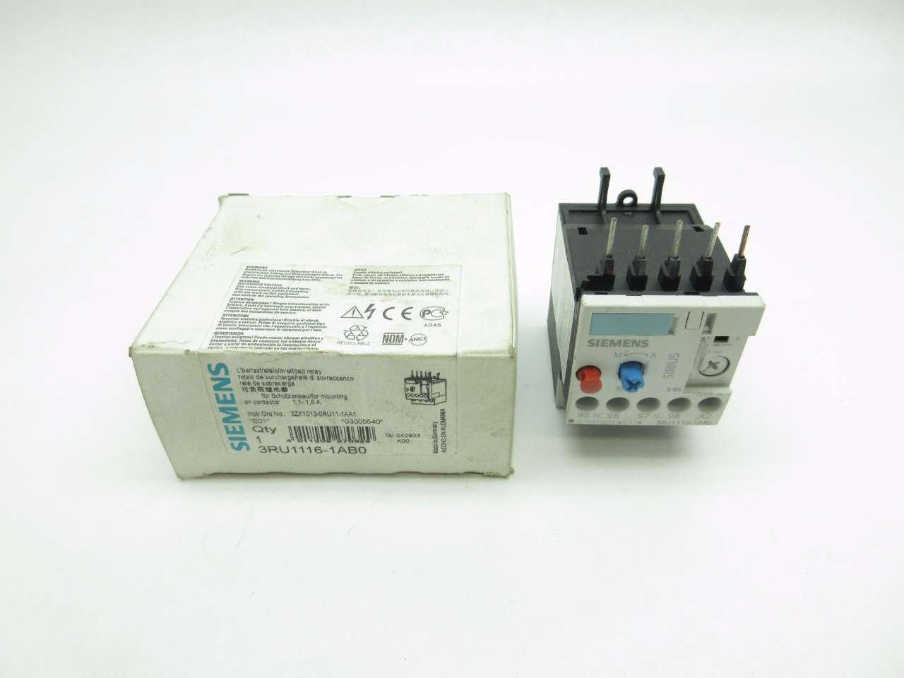 NEW SIEMENS 3RU1116-1AB0 SIRIUS 1.1-1.6A AMP 600V-AC OVERLOAD RELAY D542855