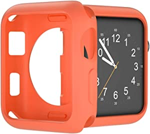 U191U Compatible with Apple Watch Case 38mm 42mm 40mm 44mm, Soft TPU Protective Bumper Cover for iwatch Series 5 4 3 2 Case (Orange, 38mm)