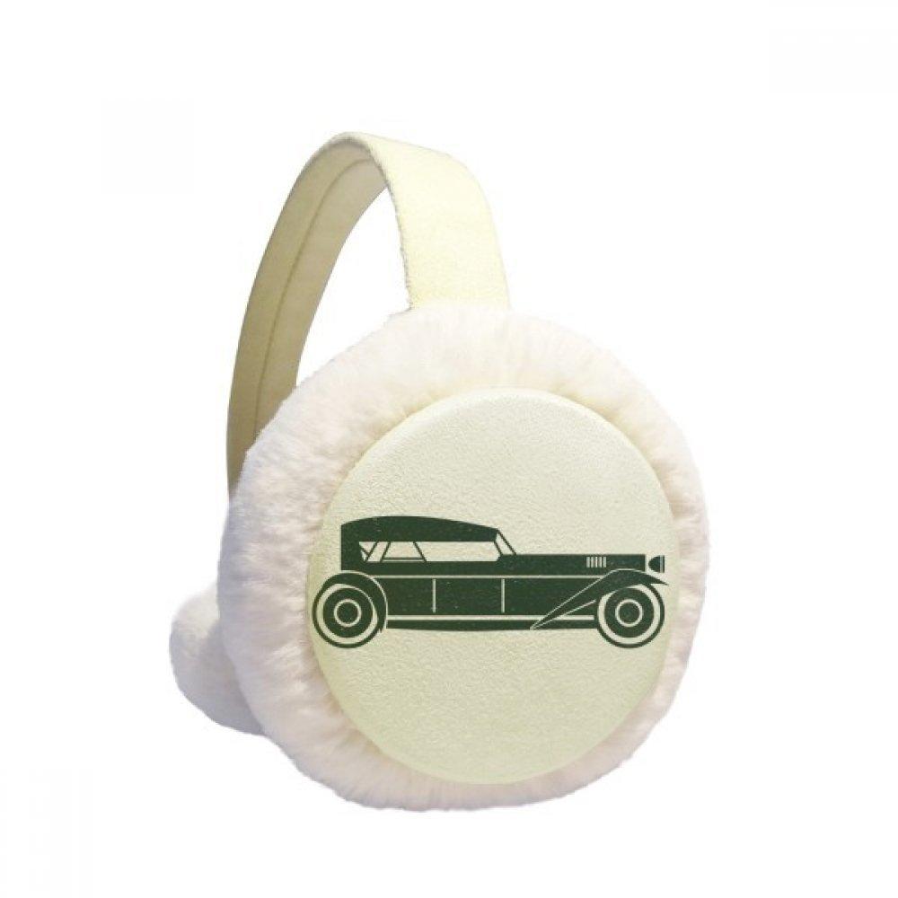 Green Geometric Classic Cars Silhouette Winter Earmuffs Ear Warmers Faux Fur Foldable Plush Outdoor Gift