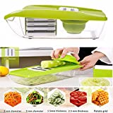 OFKP® 9 in 1 Multi-function Food Slicer and Fruit Cutter - with 5 Interchangeable Sharp Blades, Safety Hand guard, Butting Board, Blades box and Easy Food Container