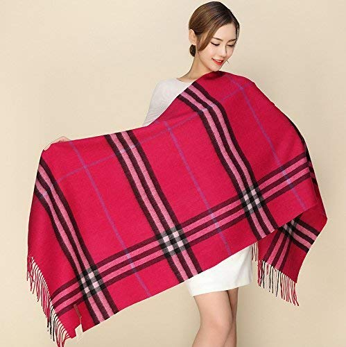 F JINGB Home ScarfPlaid Shawl Winter and Winter Thickening Shawl Imitation Cashmere Scarf Female Autumn and Winter Korean Students Knitted Shawl Long (color   H)