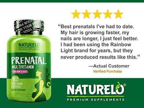 NATURELO Prenatal Whole Food Multivitamin - with Natural Iron, Folate and Calcium - Vegan & Vegetarian - Non-GMO - Gluten Free - 180 Capsules | 2 Month Supply by NATURELO (Image #4)