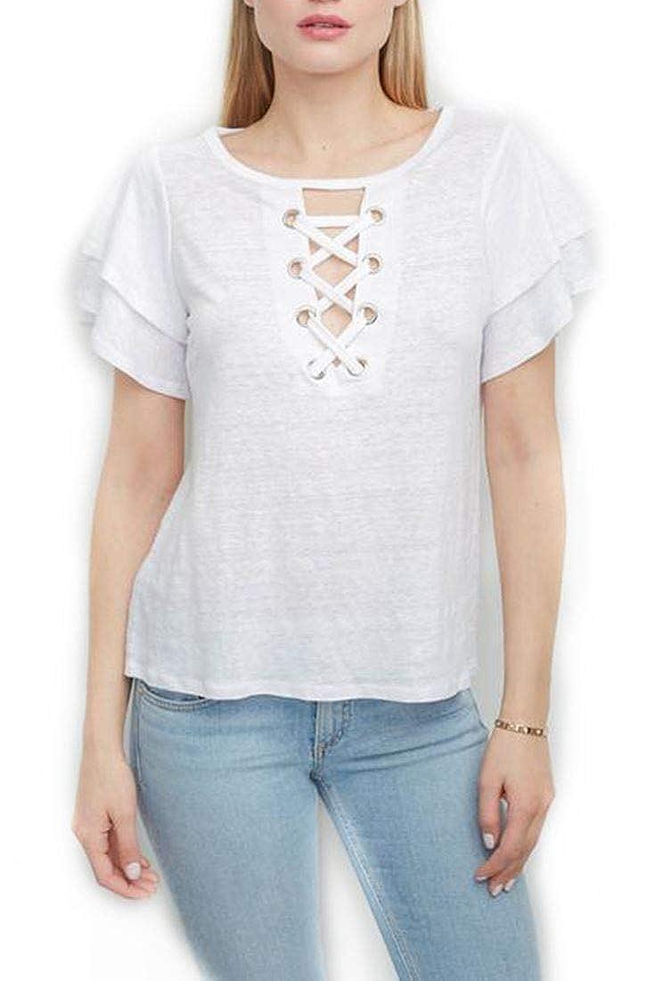 68d61bdc6f Generation Love - Women's Kiki Lace Up Top - White - M at Amazon Women's  Clothing store: