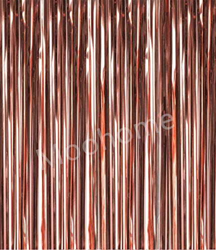(Moohome 2 Pack Big 3ft x 8ft Rose Gold Foil Curtains Backdrop Door Window Curtain Party Decoration (Rose Gold, 2-Pack))