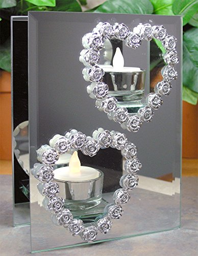 Mirrored Candle Holder - Silver Heart Candleholder - Heart Candle Holder - 2 Flameless Tea Light Candles Included (Heart Tealight)