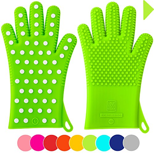 Finally! Heavy-Duty Women's Silicone Oven Mitts by Love This Kitchen | 2 Sizes Available in 9 Colors | Heat Resistant Gloves For Her Cooking, Baking & Barbecue Needs (1 Pair, M/L, Lime Green)