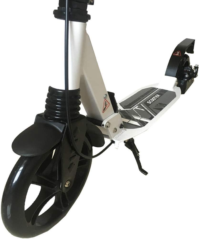 キックボード 折りたたみ大人キックスクーターディスクハンドブレーキ、2つの大きな車輪デュアルサスペンション通勤スクーター、調節可能な高さ、サポート330ポンド (Color : 白い) 白い