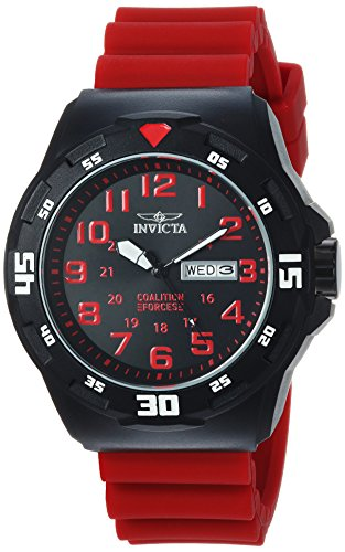 Invicta Men's Coalition Forces Stainless Steel Quartz Watch with Silicone Strap, red, 24 (Model: 25327) Black Dial Red Meter