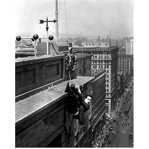- Harold Lloyd 8 Inch x10 Inch Photo Safety Last The Freshman The Kid Brother B&W Hanging from Top of Building Weathervane on Roof kn