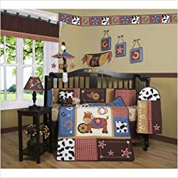 GEENNY Boy's Boutique Crib Bedding Set, Horse Western Cowboy, 13 Piece