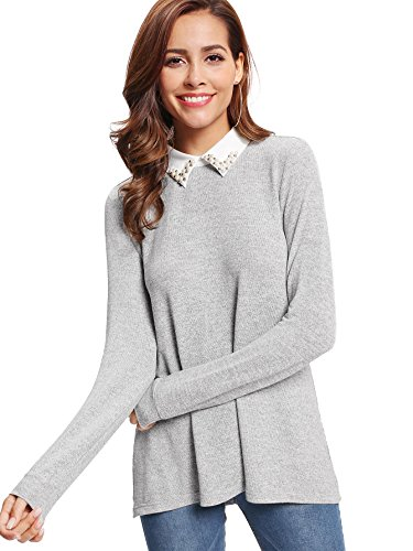 Romwe Women's Casual Contrast Beading Collar Long Sleeve Tunic Tops Gray US 12-14/Large