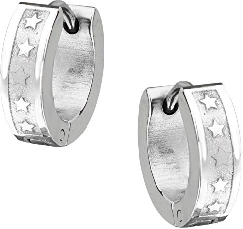 Stainless Steel Polished Star Pattern Huggie Hoop Earrings for Men