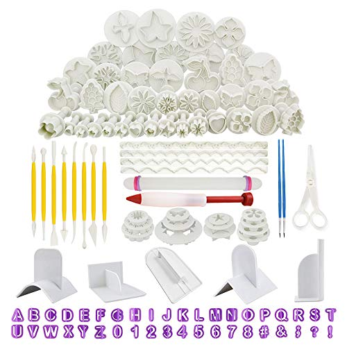 RETON 116 Pcs Fondant Cake Decorating Tools Kit - Included Fondant Sugarcraft Icing Plunger Cutters, Alphabet and Numbers Mold, Fondant Rolling Pin and Smoother