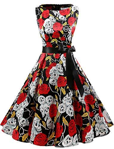 Gardenwed Women's Audrey Hepburn Rockabilly Vintage Dress 1950s Retro Cocktail Swing Party Dress Black Skull 2XL -