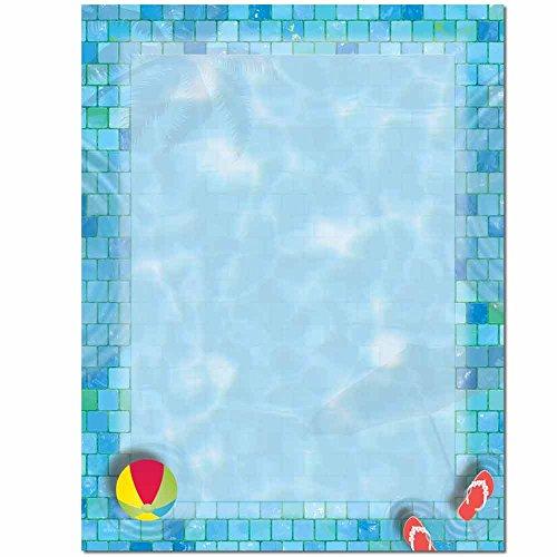 Border Letterhead Paper - Swimming Pool Letterhead Laser & Inkjet Printer Paper, 100 pack
