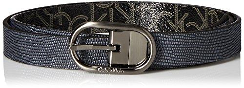 Calvin Klein Embossed Belt (Calvin Klein Women's 25mm Reversible Embossed Belt, Ink/Black Logo/Brushed Gun,)