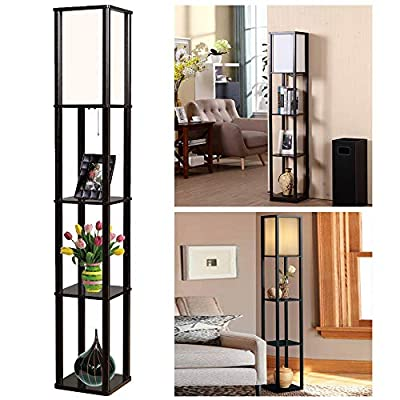 Thanger 2-in-1 Floor Stand Lamp with Decor Shelves - Wooden Frame Floor Standing Shelf Lighting Supplies for Bedroom Living Room Hotel Holiday Gift, Black
