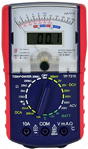 Tekpower TP7310 Hybrid Dual Display: Analog & Digital Multimeter with Battery and Ambieant Temperature Tester - Analog Electrical Circuit Multi Tester
