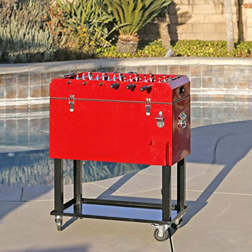 Clevr 68 Quart Qt Red Patio Cooler Ice Chest with Foosball Table Top, Portable Patio Party Bar Cold Drink Rolling Cart on Wheels with Tray Shelf,17 Gallon/ 65L Outdoor Rolling Beverage Cart
