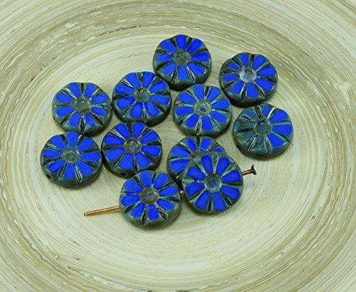 Carved Flower Beads - 8pcs Picasso Opaque Blue Table Cut Flower Flat Coin Czech Glass Beads 12mm