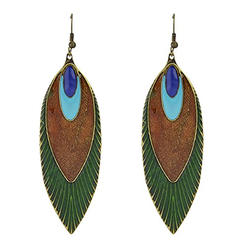 Feelontop Fashion Vintage Feather Leaf Shape Drop Earrings with Jewelry Pouch
