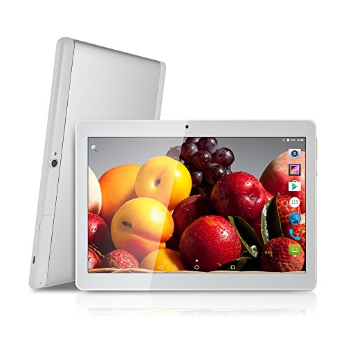Tablet 10 Inch,Octa Core,1280X800 IPS,4GB RAM,64GB ROM,8.0MP 3G Dual SIM Phone Call Tablets PC Android 7.0 Nougat,GPS(Silver)