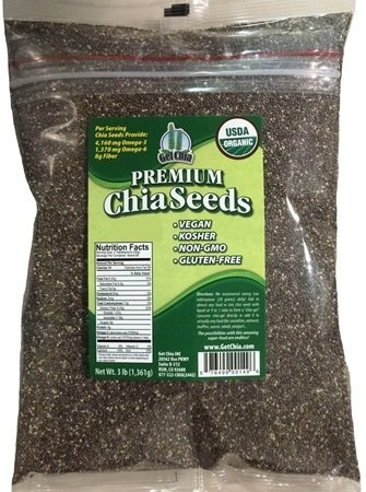 Get Chia Brand Certified Organic Chia Seeds - 24 TOTAL POUNDS = EIGHT x 3 Pound Bag by Get Chia
