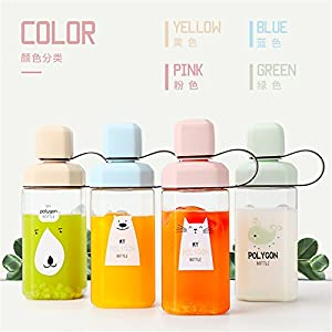 UPSTYLE Polygon Original Design Cute Animals Eco-friendly Healthy Plastic Sports Portable My Water Bottle with Colorful Lid and Tea Filter, 15.5oz(450ml) (Beige Bear)
