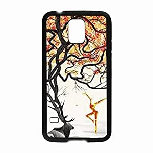 Generic Hot Rock Dancer and Browning Deer Black Laser Technology Cover Case for Samsung Galaxy S5 I9600