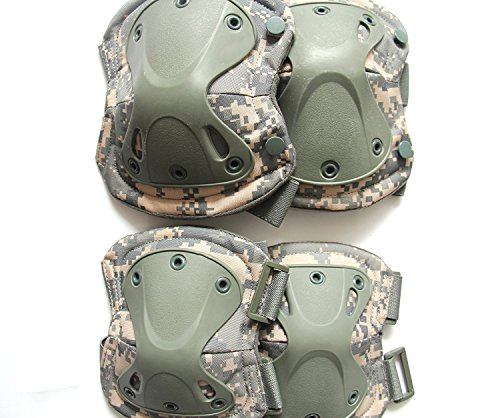Acu Elbow Pads - Huamost Adult/Child Knee And Elbow Pads Guards Protective Gear Set For Multi Sports Skateboarding Cycling Biking BMX Bicycle Scooter (ACU Camouflage)