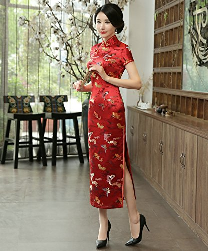 ACVIP Women's Butterfly Brocade Short Chinese Traditional Cheongsam Long Dress (US 4/Chinese L, Red) by ACVIP (Image #2)