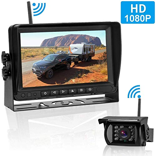 FHD 1080P Digital Wireless Backup Camera Kit, No Interference, IP69 Waterproof Wireless Rear View Camera and 7 Inch LCD Wireless Reverse Monitor for Rv/Truck/Trailer/Bus/Pickup/Van