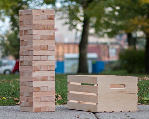 Finely Planed Giant 60Block Stacking Tower amp Wood Crate | Stacks to Over 6ft | Outdoor Party and Wedding Game