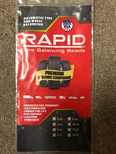 rapid tire balanceing beads -6oz. PREMIUM CERAMIC COMPOUND, MADE IN U.S.A. REUSABLE, NO SPECIAL VALVE STEMS REQUIRED rapid dis. Inc