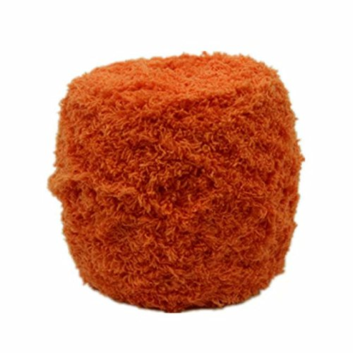 Celine lin One Skein Super Soft Warm Coral Fleece Fluffy Knitting Yarn Baby Blanket Yarn 100g,Orange ()