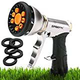 SprayTec Garden Hose Nozzle Sprayer – Heavy Duty Metal Spray Gun w/Pistol Grip Trigger. 9 Adjustable Patterns Best For Hand Watering Plants & Lawn, Car Washing, Patio, Dog & More. Leak Free Guarantee