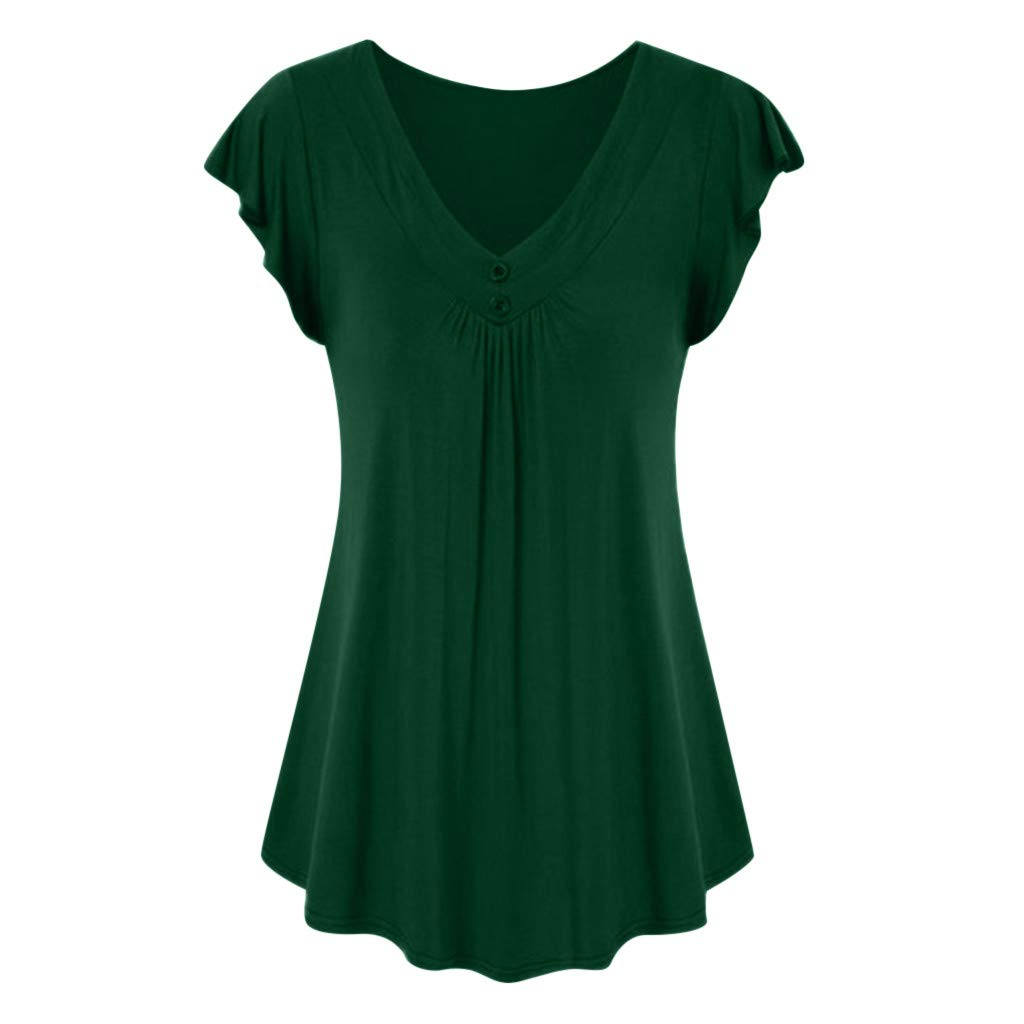 Wobuoke Fashion Women's Vintage Button Short Sleeve V Neck Pleated Tunic Shirt Army Green