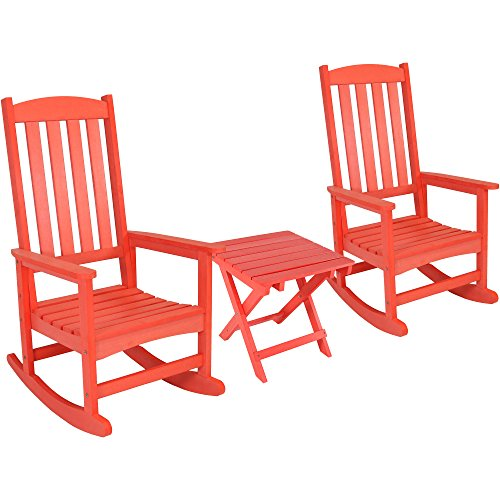 (Sunnydaze All-Weather Rocking Chair Set of 2 with Folding Side Table, Faux Wood Design, Salmon)