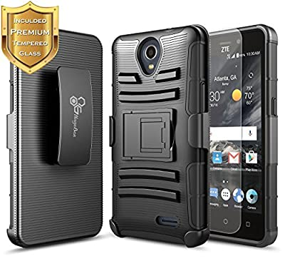 ZTE Maven 3 Case with [Tempered Glass Screen Protector], NageBee [Heavy Duty] Armor Shock Proof Dual Layer [Swivel Belt Clip] Holster [Kickstand] Combo Rugged Case For ZTE Maven 3 (AT&T) Z835 by NageBee