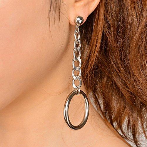 Sinwo Women Fashion Alloy Chain Geometry Ear Clip Jewelry Tassel Ear Stud Earrings Gift (Circle Freshwater Earrings)