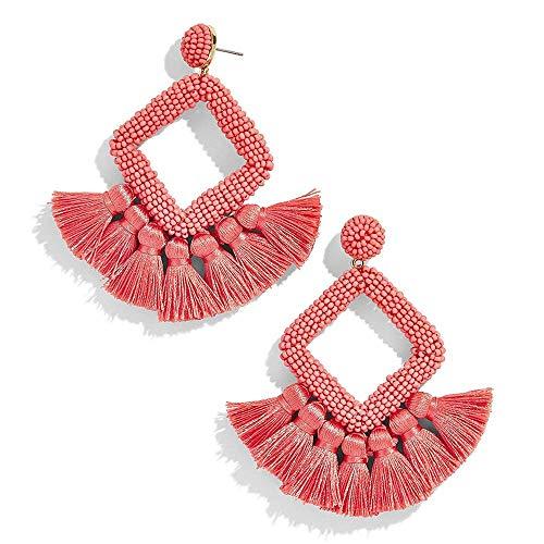- FAUOI Tassel Drop Dangle Earrings Statement Beaded Earrings Geometric Hoop Earrings Gifts for Women