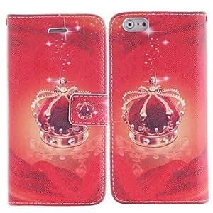 patrón de la corona roja cubierta de cuero de la PU con el soporte y la ranura para tarjeta para el iphone 6