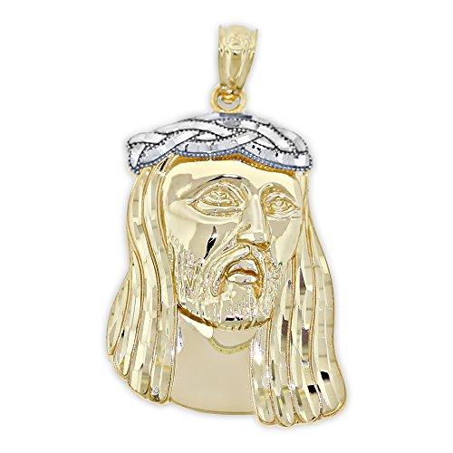 Charm America - Gold Large Jesus Head Pendant - 14 Karat Solid Gold