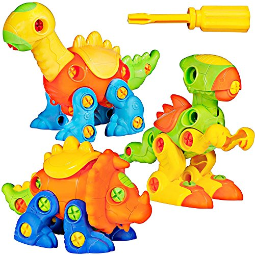 51 Outs6XkL - Dinosaur Take Apart Toy Set for Kids by Dimple - Premium Pack of 3 Educational Build Your Own Dino Toys, (106 Pieces) Top Construction Toy for Boys Girls & Toddlers, Great for Children