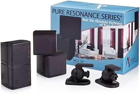 Pure Resonance Audio MC2.5B - Mini Cube Speaker 2.5 inch Swivel Surround Sound (Pair, Black)
